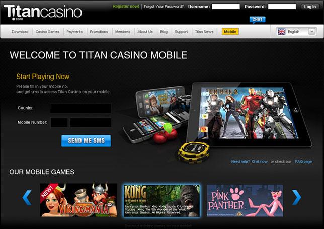 Webseite Titan Casino Mobil